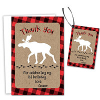 Little Moose Thank You Cards - Lumberjack Red Flannel Party Tags - Moose Birthday Party - Boy Adventure - Party Favor Tag - Plaid Kraft Boys