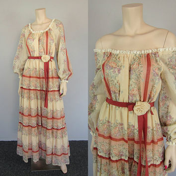Vintage 70s Sheer Gauze Floral Lace Maxi Dress Boho Tiered Ruffle Peasant Prairie Renaissance Gown Hippie Wedding Gunne Sax style