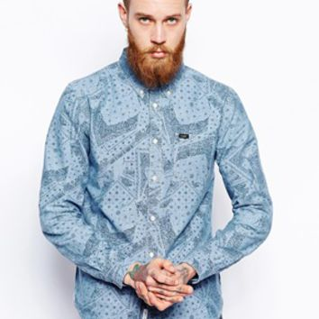 Lee Shirt Button Down Bandana Print Chambray -