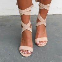 Serious Shade Suede Lace Up Nude Heels