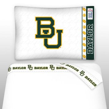 NCAA Baylor University Bears Bed Sheet Set College Football Logo Bedding Accessories