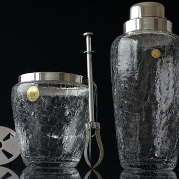 Vintage Glass Cocktail Set Cocktail Shaker with Ice Bucket and Ice Tongs Crackle Glass Bar Cart Accessories Mid Century Barware Set