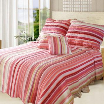 DaDa Bedding Lovely Stunning Stripes Red & Pink Coverlet Bedspread Set (DXJ101824)