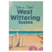 West Wittering Sussex beach vintage travel poster Wood Poster