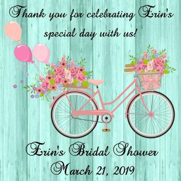 Bicycle Shabby Chic Bridal Shower Favor Tags