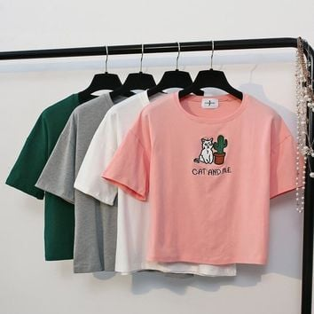 Day-First™ Cool Embroidery Cat and Me Short Sleeves Crop T-shirt Top