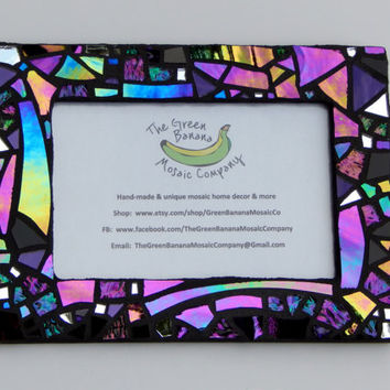 "Mosaic Picture Frame, 4"" x 6"", Black with Iridescent + Textured Glass, Handmade Stained Glass Mosaic Design"