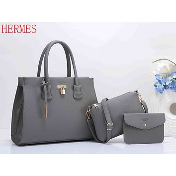 Hermes Popular Women Pure Color Leather Handbag Shoulder Bag Crossbody Purse Wallet Set Three Piece Grey I-XS-PJ-BB