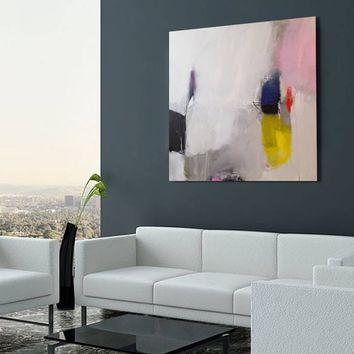 Large Abstract giclee print, White, Pink modern abstract painting print, large giclee art print, print of an original acrylic painting
