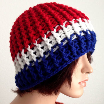 Unisex Crochet USA winter Beanie. Patriotic US Beanie. Team USA. Olympic Games. Fourth of July.