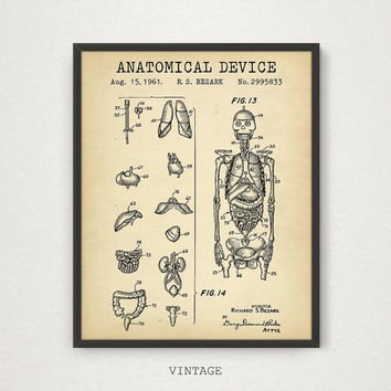 Medical Student Gift Art, Digital Download Patent Print, Anatomical Demonstration Device Patent, Anatomical Skeleton, Body Parts Diagram