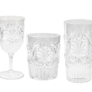 Fleur Indoor/ Outdoor Drinkware S/6 | CLEAR