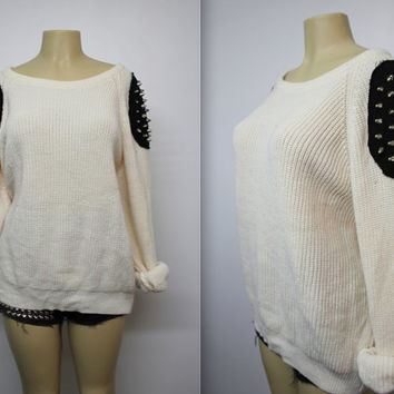 Oversized Pale Pink Studded Knit Sweater