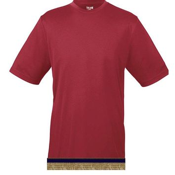 Cherry Red Workout Performance T-shirt With Fringes