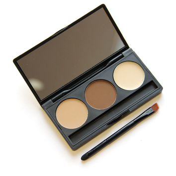 3 Color Eyebrow Powder and Makeup Brush