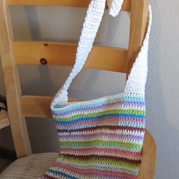 Crochet Tote/Hobo Bag/Purse This Desert Tote Is Great for any Occasion Made with Fun n Stylish Colored Cotton Yarn Perfect for Spring/Summer