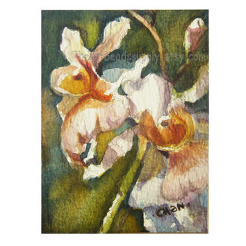 original aceo peinture, Orchids flowers, watercolor painting, flora fauna, wallart id1360793, not a print, wall art, gift idea, nature