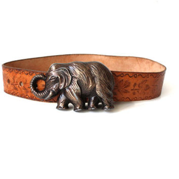 Brown leather belt Metal buckle of an elephant Size XS