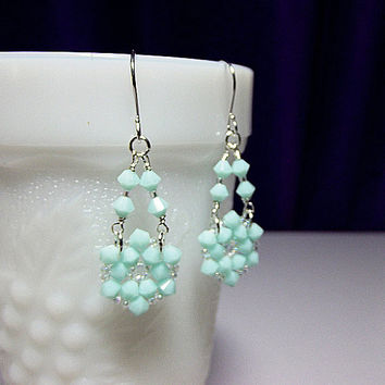 Mint Green Crystal Chandelier Drop Earrings, Christmas Gift, Mom Sister Grandmother Girlfriend Bridesmaid Jewelry Gift, Classy