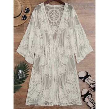 Embroidered Sheer Swimsuit Cover Up See Through Lace Bikini Cover Up Women Tunic Robe De Plage Beach Cover Up Cardigan