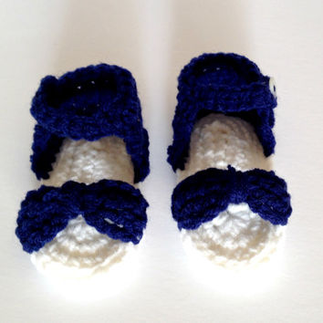 Baby crochet sandal, navy blue sandals, newborn sandals, newborn shoes, crochet baby booties, baby girl sandal, baby girl shoes