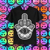 UNISEX Lotus Hamsa Finger Evil Eye Protector T-shirt // fASHLIN.