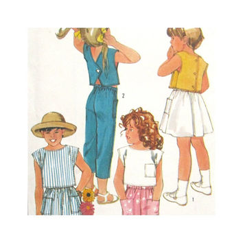 Simplicity 6866 Uncut Pattern Girls Cropped Top, Pants  and Skirt Size 4 5 6 Easy to Sew