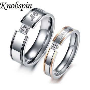 Engrabable Unique lovers' couple rings Titanium steel finger Jewelry Engagement Wedding band ring fashion Rhinestone aneis