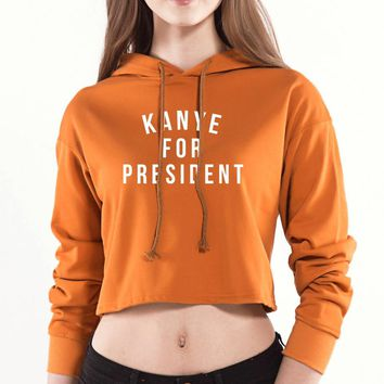 2018 New Arrival Hot Sale fashion hoody Kanye For President Print women sweatshirt Casual Hipster Street Cape Poncho hoodies