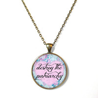 Floral Feminist destroy the patriarchy Necklace - F*ck the Patriarchy Pop Culture Feminism Jewelry - Pastel Goth Soft Grunge Necklace