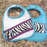 Zebra Stripe, Aqua and Purple Accent Appliqued Baby Girl Bibs (Set of 2)
