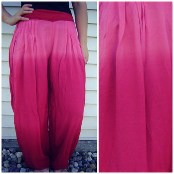 90s ethnic pink OMBRE aladdin pants vintage hippie boho summer pleated trousers summer high waist elastic pant size s/m/l festival tie dye
