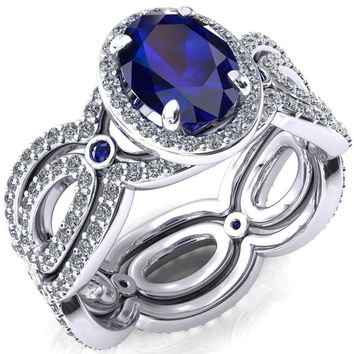 Polaris Oval Blue Sapphire Diamond Halo Full Eternity Blue Sapphire Bezel Diamond Accent Ring