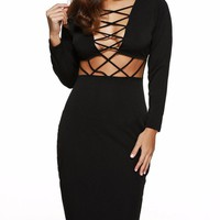 Beautiful Lace Up Club Midi Dress - Black