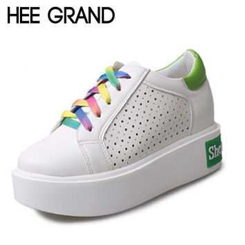 HEE GRAND Patchwork Rainbow Lace-up Women Casual Shoes Dot Out-cuts Breathable Platform Creppers XWC716