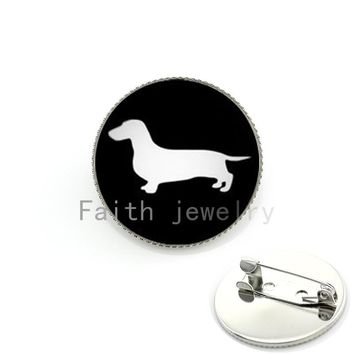 Best Deals Ever dog silhouette brooches supernatural hunter hound medal pin Limited Romantic Dachshund style pin KC354