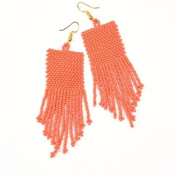 Seed bead earring with fringe, coral