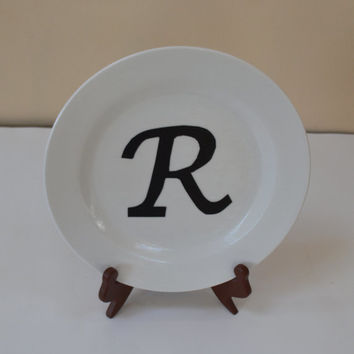 Decoupage Plate, Plate Art Decoupage, Letter R , Wall Decor, Kitchen Accents, Personalized, Kitchen Decor, Wedding Gift, Birthday Gift