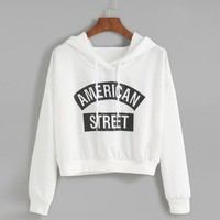 Cropped Sweatshirt Women Printed Loose Autumn Hoodies Casual Pullovers Long Sleeve Sweatshirt Survetement Moleton Feminina#A11