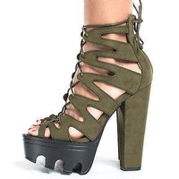 Vive64by Wild Diva, Cut Out Lace Up Ankle Wrap Lug Sole Platform Chunky Heels