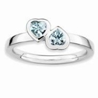 Sterling Silver Aquamarine Double Heart Ring