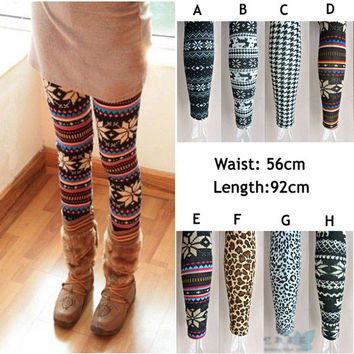 New Womens Snowflake Reindeer Knitted Warm Leggings Tights Pants P888