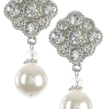 White Glass Stone Cluster Pearl Charm Earring