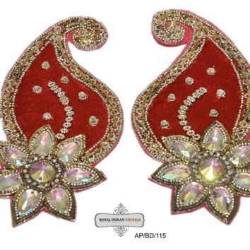 2 Pcs Indian Bridal Appliqués Red Dress Costume Appliqués Craft Sewing Paisley Floral Appliqués Beaded Appliques/Handmade/ AP/BD/115