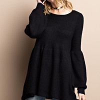 Black Baby Doll Puff Sleeve Cozy Sweater