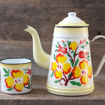Vintage Flower Tin Enameled Teapot / Coffeepot