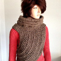 Katniss Inspired Hand Crocheted Cowl. Wool Crochet Cowl. FREE US shipping