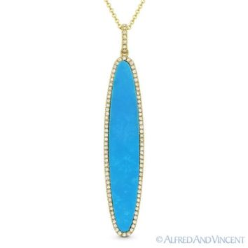 Blue Turquoise & 0.20ct Diamond Pave Pendant & Chain Necklace in 14k Yellow Gold