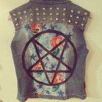 666 Little Mermaid Studded Denim Vest