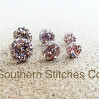 SALE Rose Gold Earrings Druzy Stud Earrings 8MM 10MM or 12MM Boho Jewelry Bridesmaids Gifts